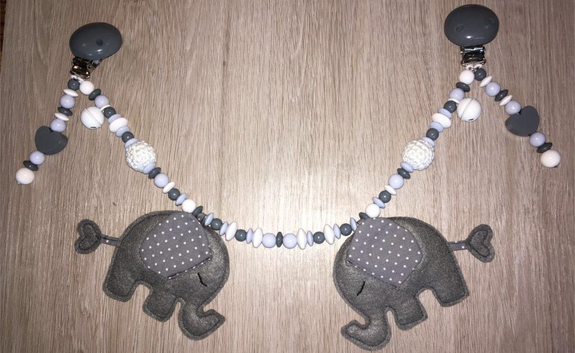 Kinderwagenkette aus Filz mit Elefanten – Anleitung