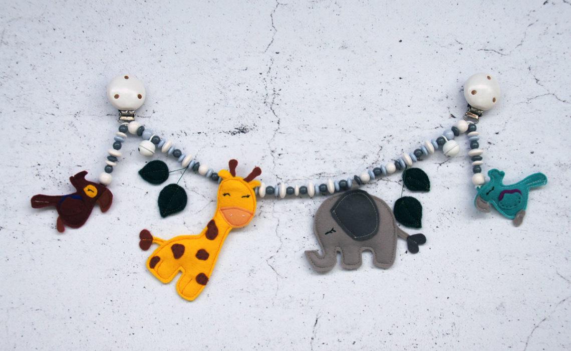 Kinderwagenkette Filztiere Safari